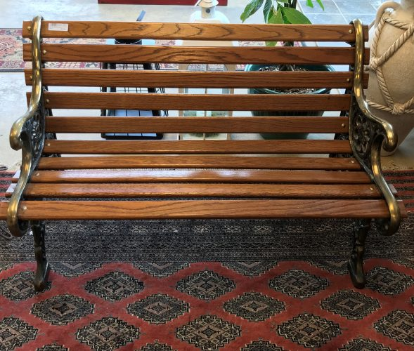 Antique Solid Brass And Wood Park Bench