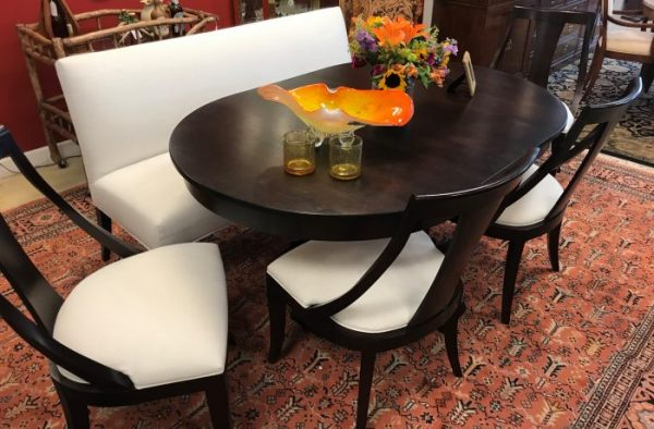 Ethan Allen & Canadel Dining Room Table And Chair-Bench Set
