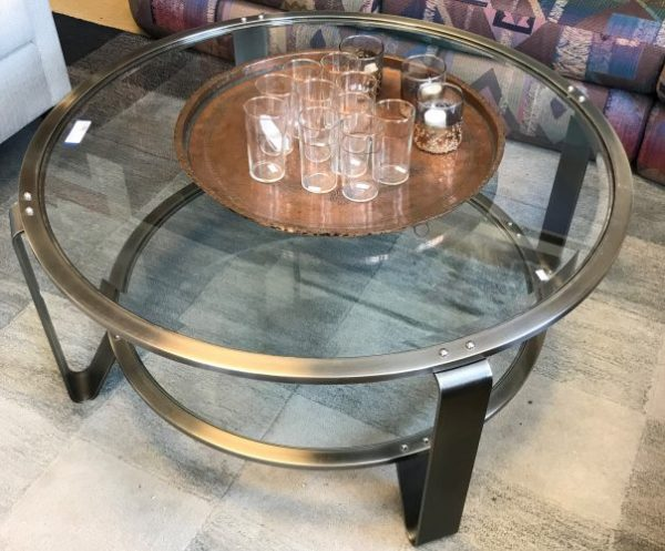 Brushed Chrome Round Coffee Table