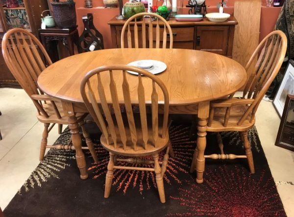 Oak Drop Leaf Dining Room Table And Chairs