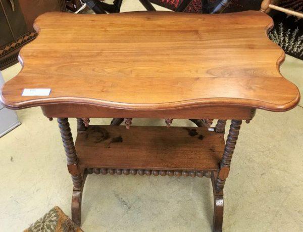 Vintage Bobbin Wood Barley Leg Accent Table