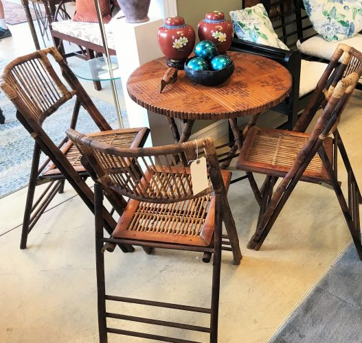 1940's 4-Piece Vintage Tortoise Bamboo Folding Table and Chairs Set