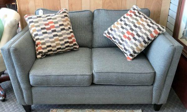 New~ Modern Grey-Black Upholstered Love Seat