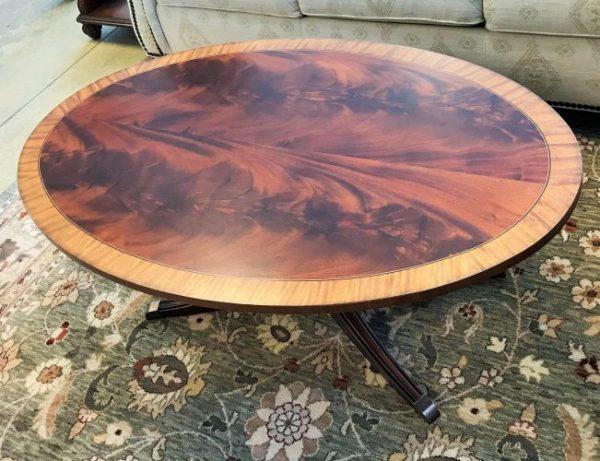 Ethan Allen Thorton Elliptical Inlaid Mahogany Coffee Table