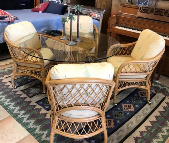 Vintage Wicker And Bamboo By Henry Link Dining Room Table And Chairs