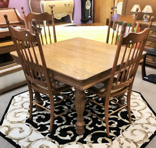 Antique Tiger Oak Dining Room Table And Chairs