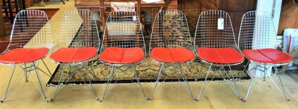 Set/6 1951 Mid Century Modern Eames Herman Miller Wire Chair Set
