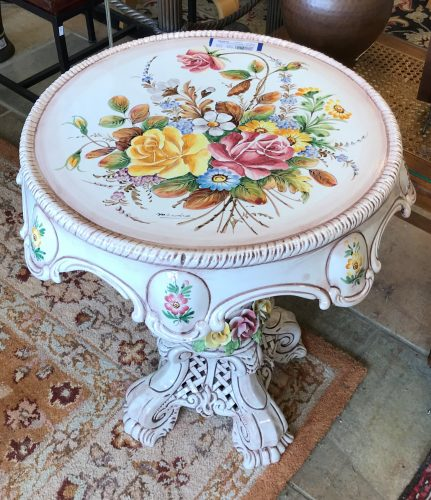 Italian Hand Painted Capodimonte Style Accent Table