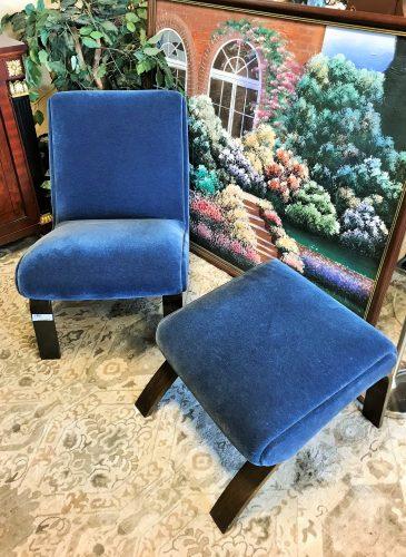 Modernica Mid Century Modern Blue Velvet Bentwood Chair And Ottoman