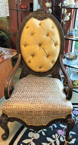"Michael Amini "" Mann English"" Ornate Gold Leather Animal Print Arm Chair Set"