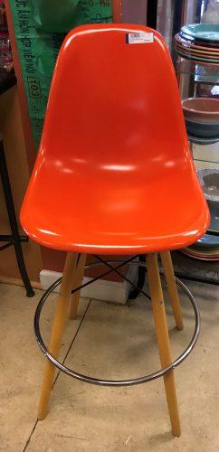 Eames Orange Molded Bar Stool