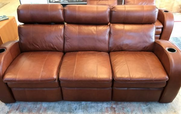 Berkline Brown Leather Reclining Theatre Seat Set