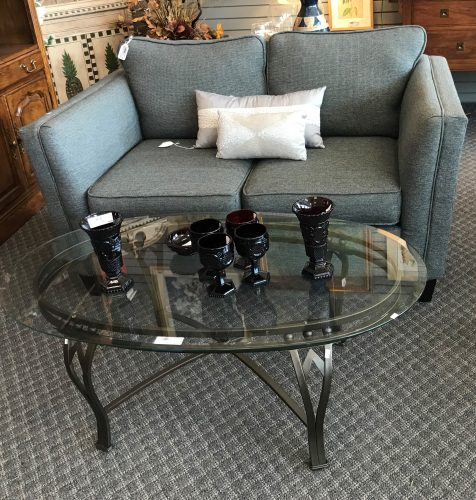 Modern Oval Beveled Glass Top Coffee Table