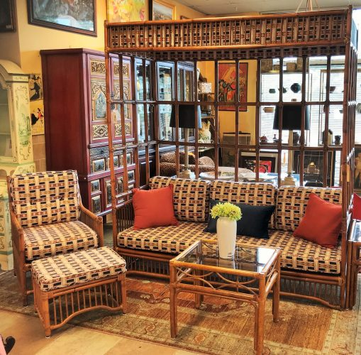 Vintage 5 Piece Boho Chic Bamboo And Rattan Canopy Sofa Set Includes- Chair and Ottoman, Two Side Tables Canopy Sofa
