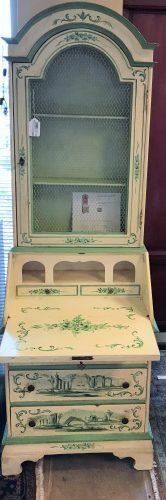Antique Italian Hand Painted Chinoiserie Secretary Desk
