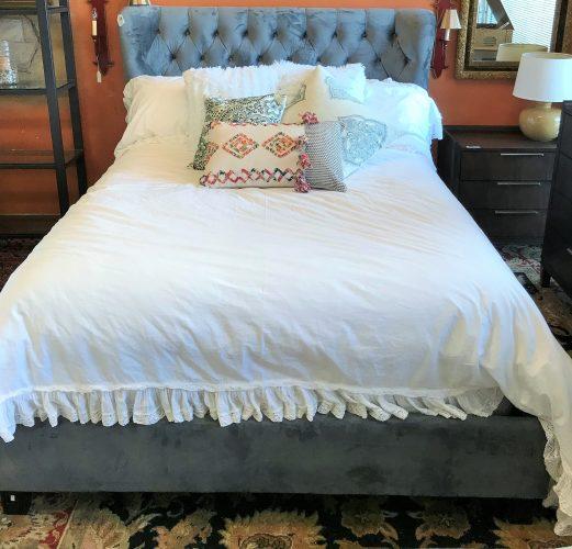 Grey Tufted Velvet Bed Frame