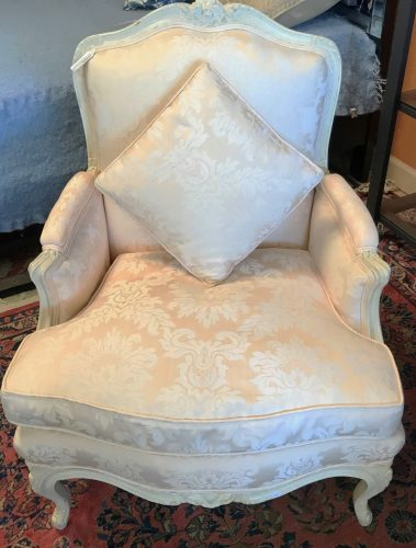 2-Antique French Provincial Bergere Arm Chairs Sold Separate
