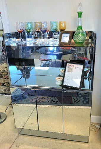 Vintage Mid Century Modern Ello Mirrored Dry Bar Cabinet