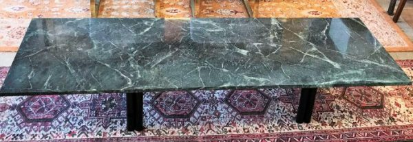 Contemporary Marble Top Coffee Table With Tubular Base-Legs