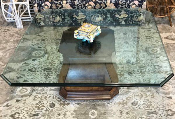 Henredon Coffee Table With Burled Walnut Pedestal Base