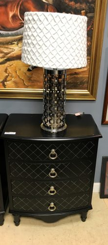 Four Drawer Black with Silver Accents Nightstands Sold Separate