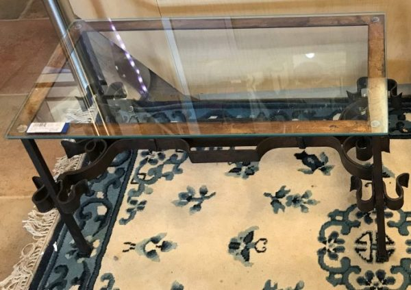 Gorgeous Vintage Forged Iron And Glass Coffee Table