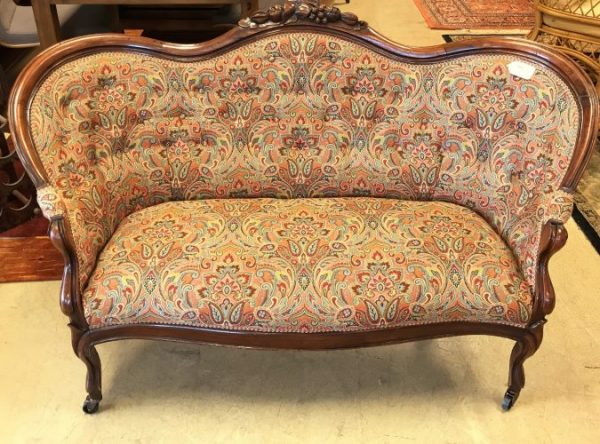 Antique Tufted Reupholstered Settee