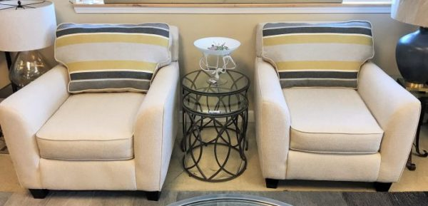 2-White Striped Reversible Armchairs Sold Separate