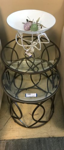 Pier 1 Bronzed And Iron Nesting Table Set