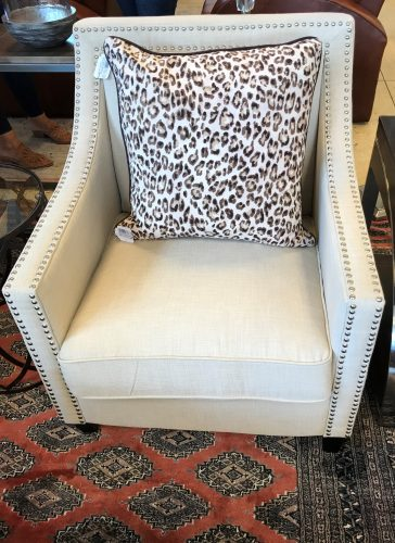 Contemporary White/Hobnail Linen Accent Chair