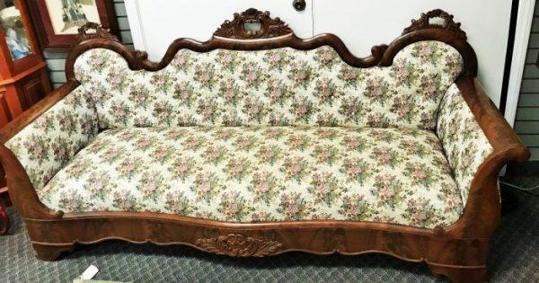 Antique Waterfall Framed Upholstered Sofa