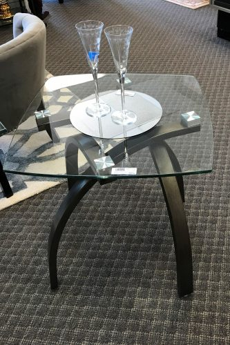 2-Magnussen Contemporary Glass Top And Black Metal Side Tables Sold Separate