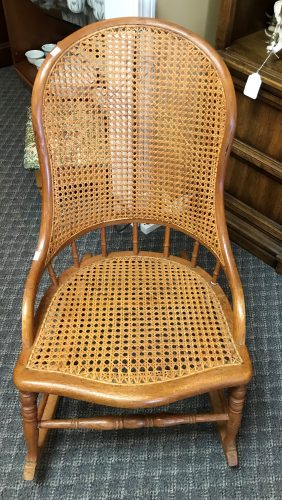 Antique Oak And Rattan Rocking Chair