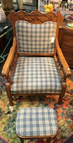 Antique Oak Spindle Carved Arm Chair And Footstool Set