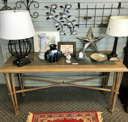 Modern Metal And Slate Top Console Table