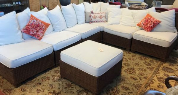 Pottery Barn All Season Wicker Sectional And Ottoman