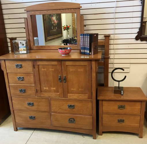 Bassett Furniture Co. Oak Mule -Craftsman Style Dresser With Mirror-Night Stand And Queen Headboard-Foot Board-Rails Set