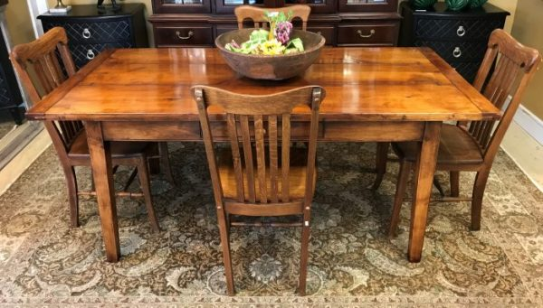 Vintage Wide Plank Harvest Table And Chairs Sold Separate