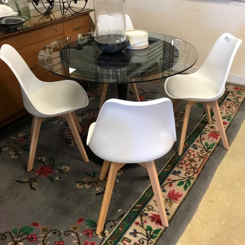 Vintage Stamped Leather Base With Glass Top Table And Chairs Sold Separate