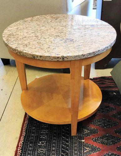 Vintage Henredon Granite Top Side Table With Shelf