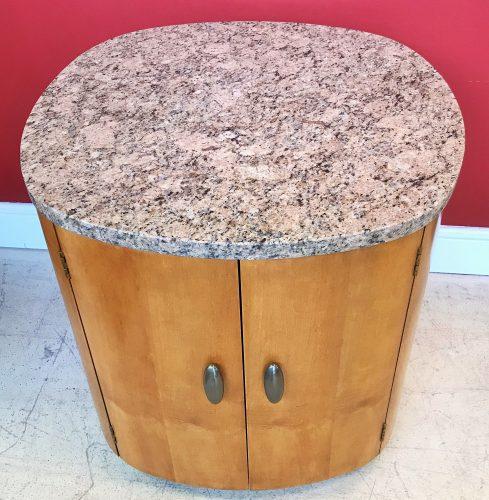 Vintage Henredon Barrel Storage Side Table With Granite Top