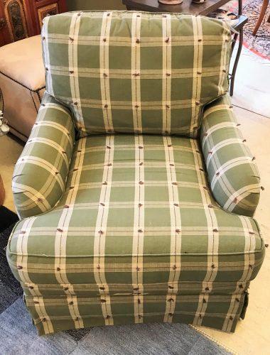 Sherrill Plaid Swivel Upholstered Arm Chair