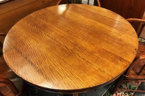 Vintage Quarter Sawn Oak Round Pedestal Table