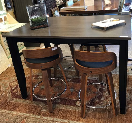 Bar Height Table With Leaf And Set Of Four Contemporary Swivel Bar Stools Sold Separate