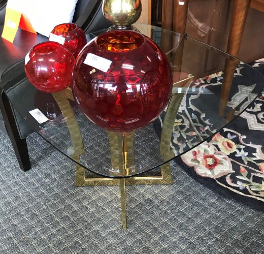 Canada Brass And Glass Accent Table