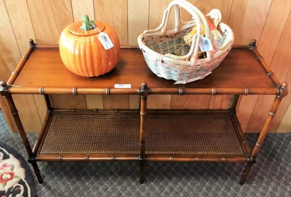 Vintage Rattan And Bamboo Tier Console