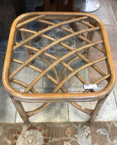 1970's Vintage Boho Chic Bamboo Rattan Glass Top Accent Table