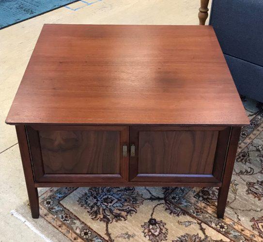 Mid Century Modern Atomic Walnut End Table Cabinet