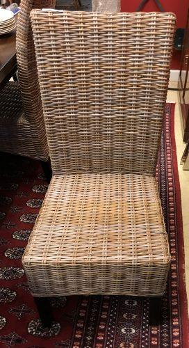 Set/4 Woven Rattan High Back Chairs