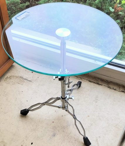 """Snare Drum Hardware Accent Table With Glass Top $ 189.99 20"""" L x 20"""" W x 25"""" H"""